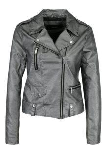 Koženková bunda v striebornej farbe VERO MODA Safra