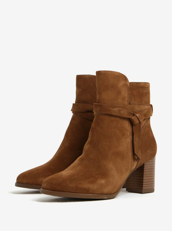 Hnedé dámske semišové členkové topánky na podpätku Vagabond Lottie