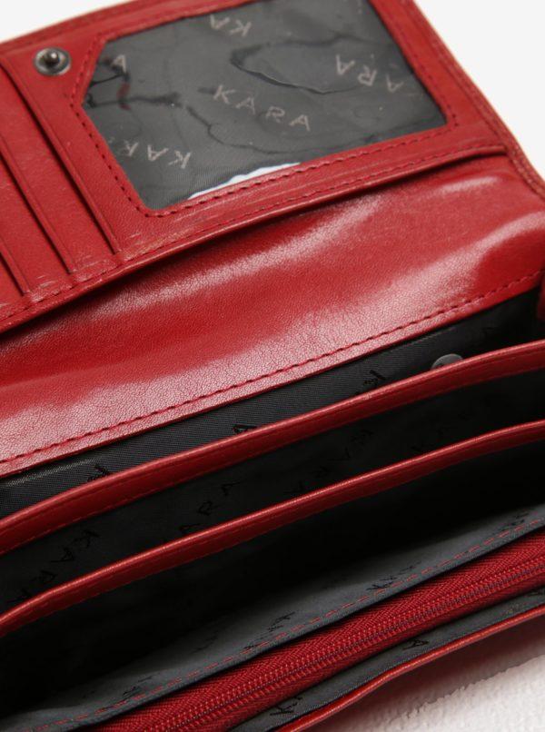 Červená dámska kožená peňaženka KARA