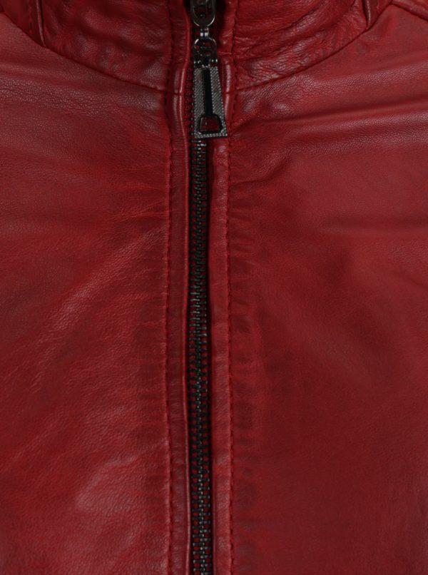 Červená dámska kožená bunda s prešívanými detailmi KARA Pavlina