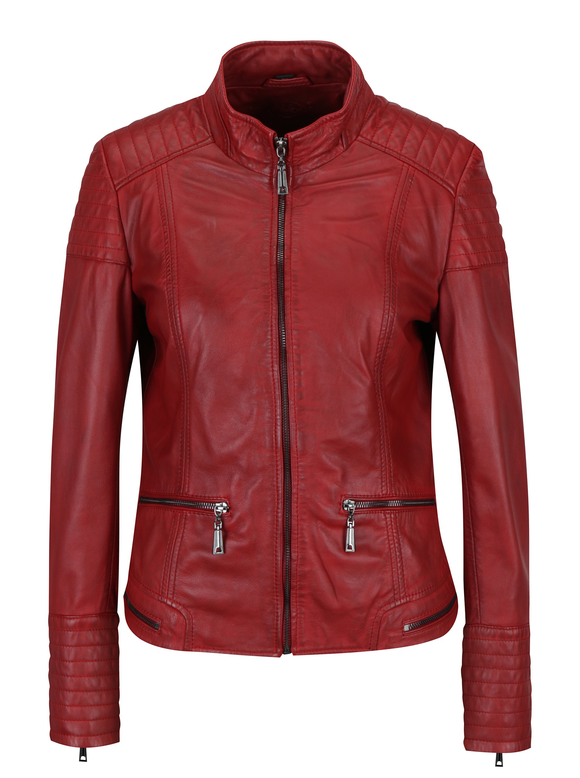 a46ffab93e0d Červená dámska kožená bunda s prešívanými detailmi KARA Pavlina ...