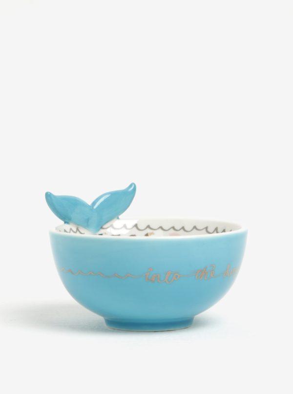 Krémovo-modrá miska s motívom veľryby Disaster Over The Moon Whale