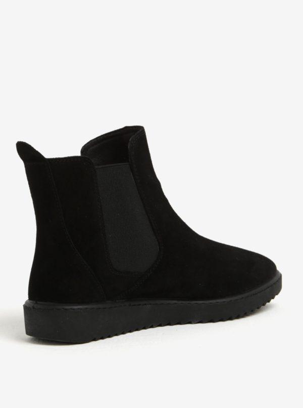 Čierne semišové chelsea topánky OJJU
