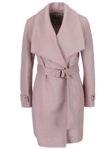Svetloružový kabát s opaskom Miss Selfridge