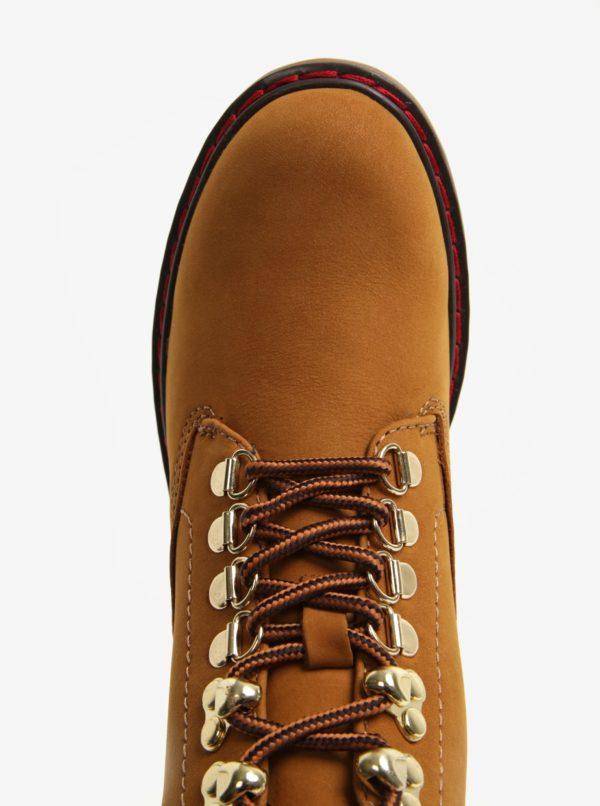 Hnedé dámske kožené členkové topánky ALDO Pevio