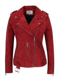 Červená semišová bunda s opaskom Selected Femme Sanella