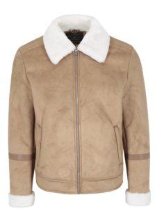 Svetlohnedá zimná bunda v semišovej úprave Jack & Jones Originals Air