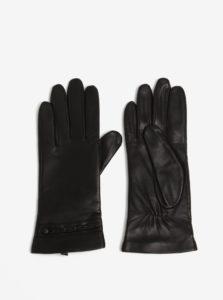 Čierne dámske kožené rukavice so zdobením KARA