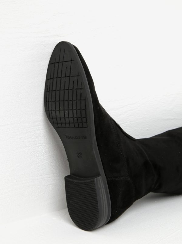Čierne vysoké čižmy v semišovej úprave Tamaris