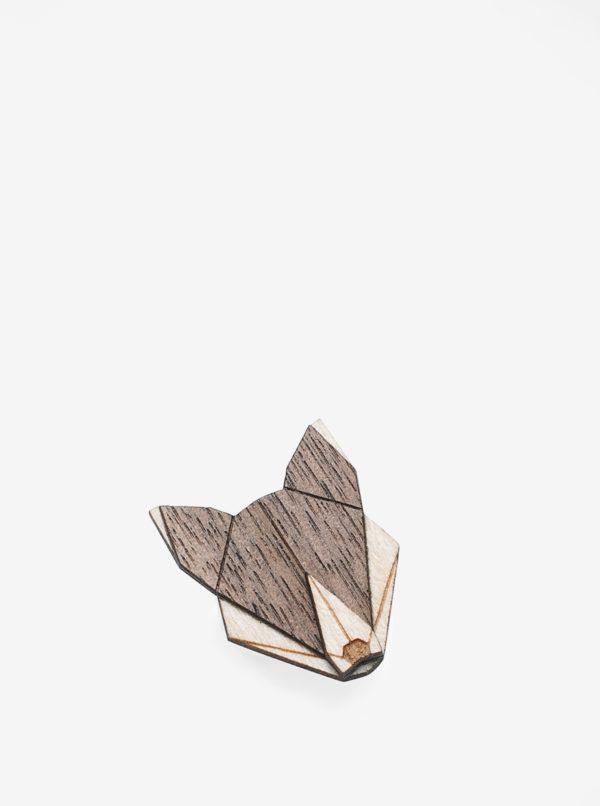 Drevená brošňa v tvare vlka BeWooden Wolf Brooch