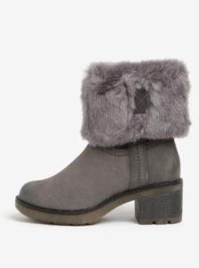 Tmavosivé kožené zimné topánky Tamaris