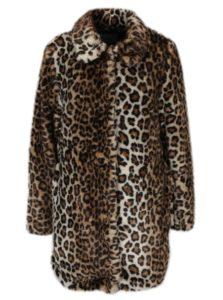 Hnedý kabát s leopardím vzorom z umelej kožušiny Dorothy Perkins Petite