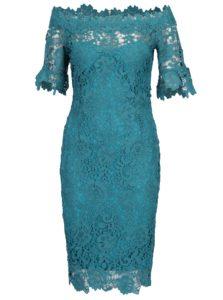 Tyrkysové čipkované šaty s odhalenými ramenami Paper Dolls