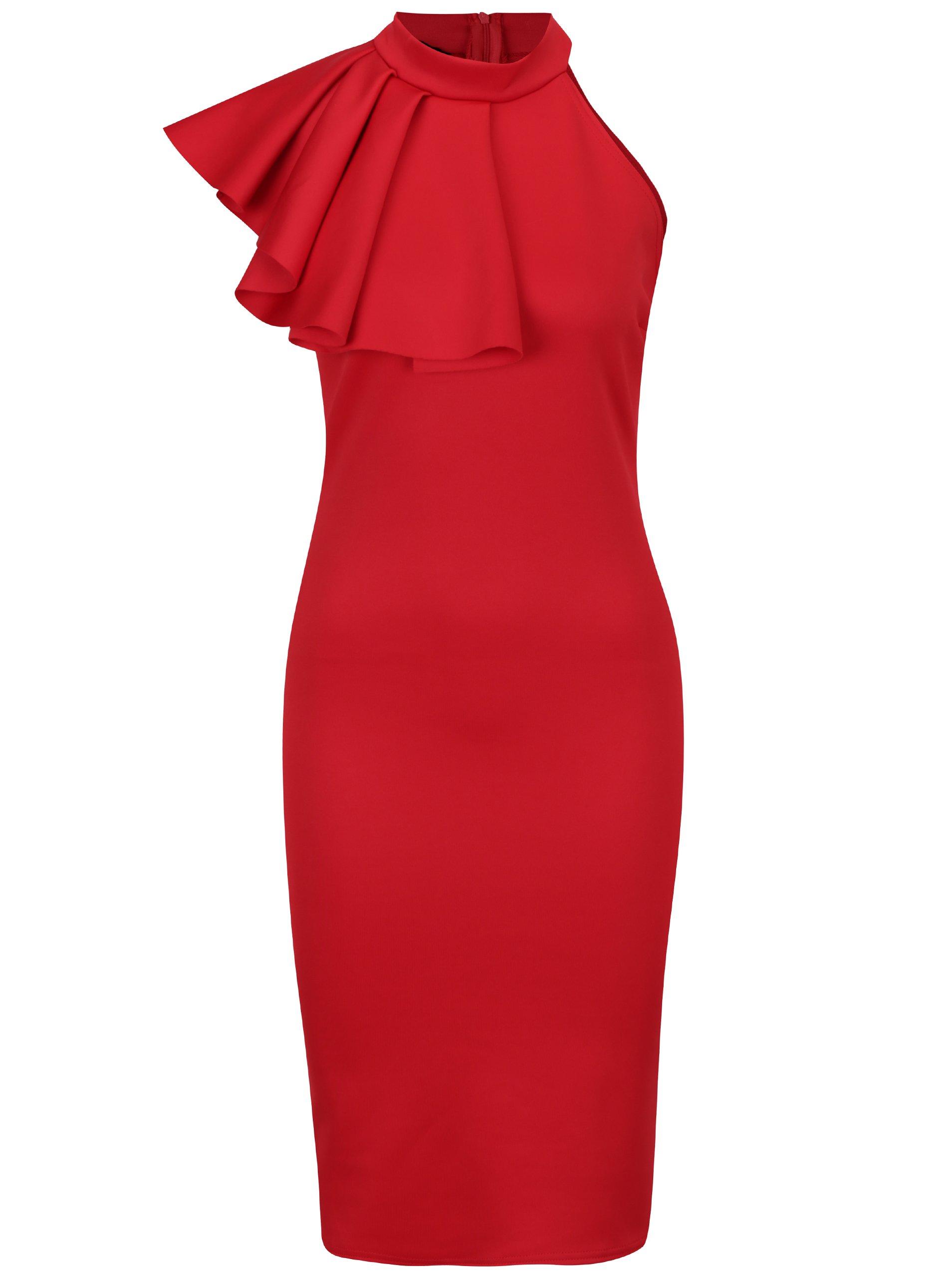 4e1050fe889f Červené puzdrové šaty s volánom ZOOT
