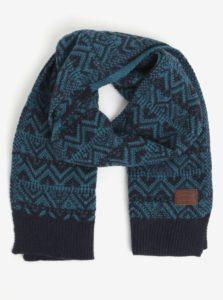 Modrý vzorovaný šál s prímesou vlny O'Neill