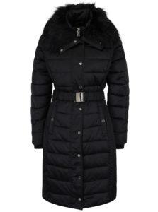 Čierny zimný prešívaný kabát s umelou kožušinou Miss Selfridge