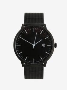Čierne unisex hodinky s nerezovým remienkom CHPO Nando Noir
