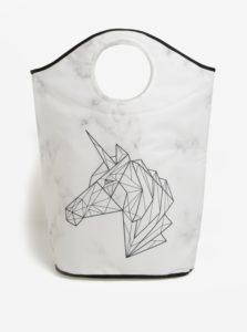 Krémový kôš na bielizeň s geometrickým motívom jednorožca Butter Kings