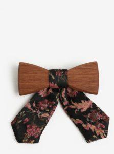 Hnedý dámsky drevený motýlik s čiernou mašľou BeWooden Rosis