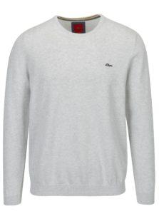 Svetlosivý pánsky sveter s výšivkou loga s.Oliver