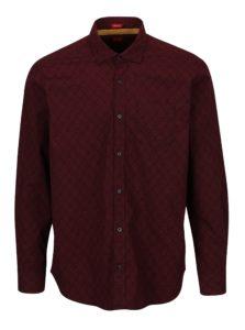 Vínová pánska vzorovaná regular fit košeľa s.Oliver
