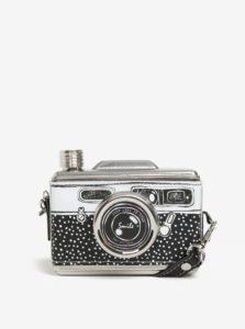 Čierna ploskačka z nehrdzavejúcej ocele v tvare fotoaparátu Disaster Take A Shot