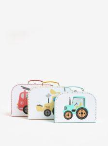 Súprava troch detských kufríkov v bielej farbe s motívom áut Sass & Belle Trucks