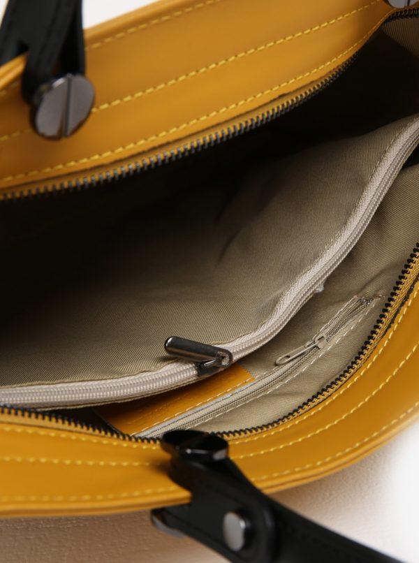 Žltá dámska kožená kabelka KARA  c0a5332affc