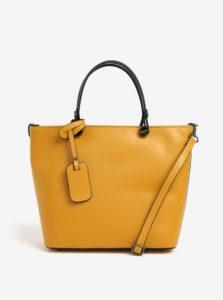 Žltá dámska kožená kabelka KARA
