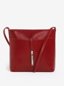 Červená kožená crossbody kabelka s detailom v striebornej farbe KARA