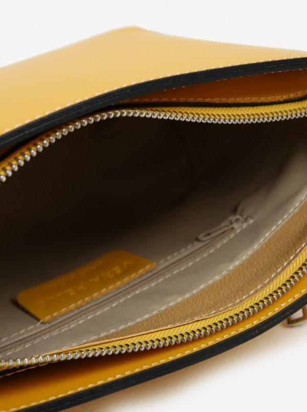 Žltá dámska kožená crossbody kabelka KARA  ad6f06a0339