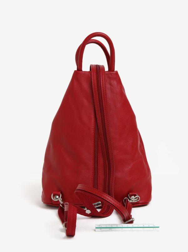 Červený dámsky kožený batoh KARA