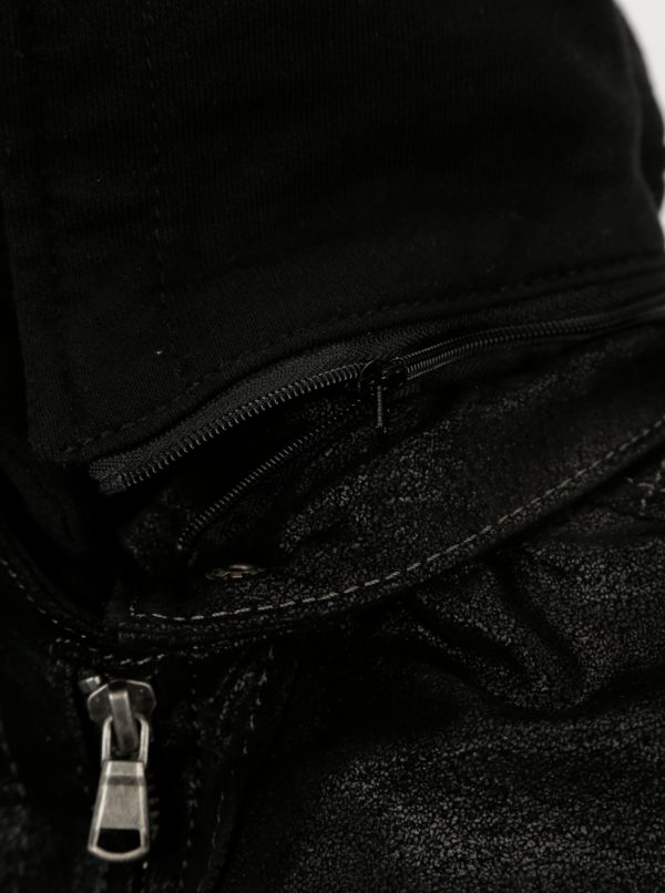 9c7c269f2b Čierna dámska kožená bunda s kapucňou KARA Maria