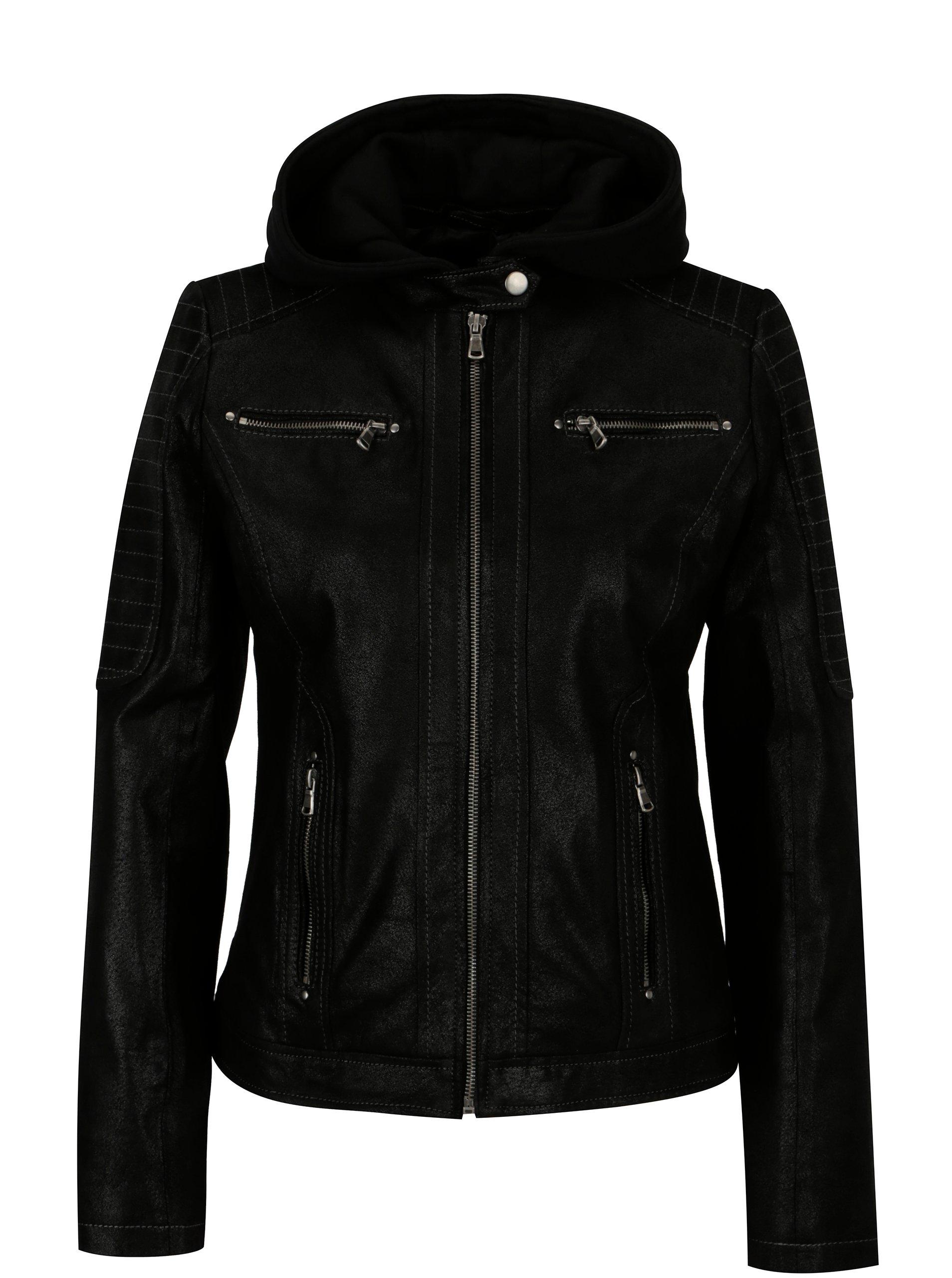 7a0becf4f167 Čierna dámska kožená bunda s kapucňou KARA Maria