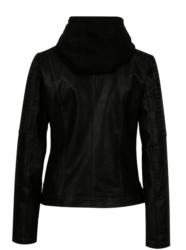 Čierna dámska kožená bunda s kapucňou KARA Maria