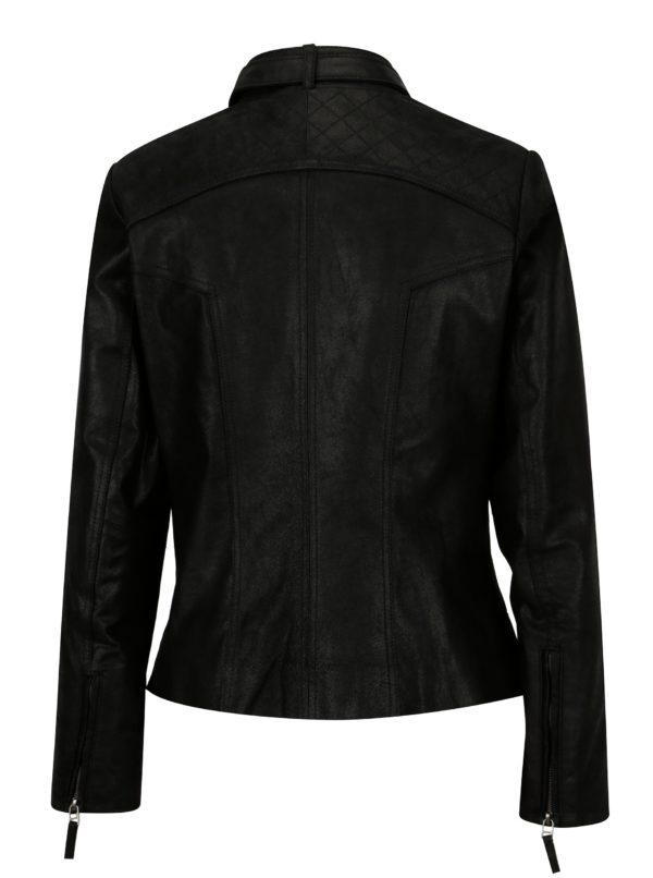 Čierna dámska kožená bunda s prackou KARA Diva