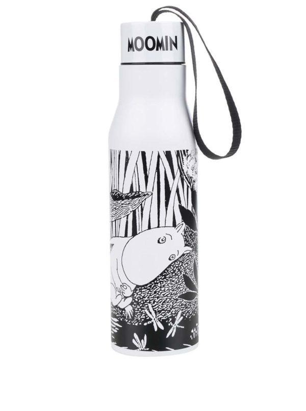 Čierno-biela termoska s potlačou Disaster Moomin Midwinter