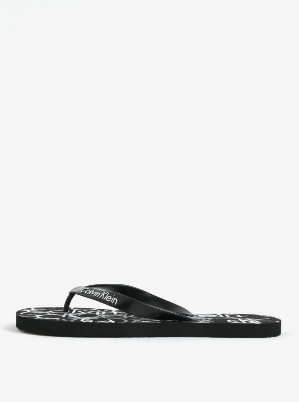 Čierne pánske žabky s potlačou Calvin Klein Underwear