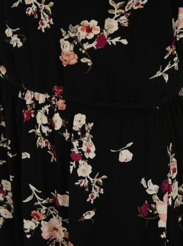 Čierne kvetované šaty ONLY Karmen