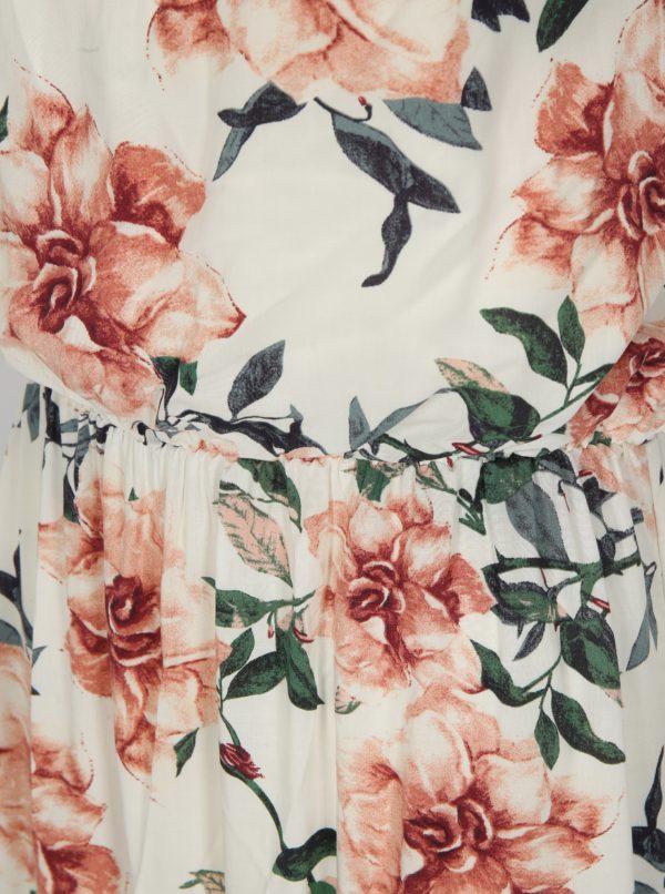 Biele kvetované maxišaty na ramienka Haily's Doris