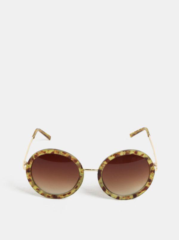 Hnedo-žlté okrúhle slnečné okuliare Nalí