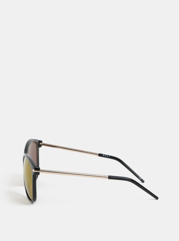 Čierne slnečné okuliare s nožičkami v zlatej farbe Nalí