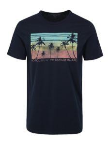Tmavomodré slim fit tričko s potlačou Jack & Jones Shane