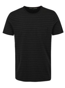 Čierne vzorované slim fit tričko Jack & Jones Clark