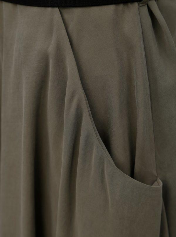 Kaki košeľové midišaty s opaskom Pietro Filipi