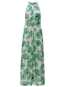 Béžovo–zelené kvetované maxišaty s opaskom Pietro Filipi