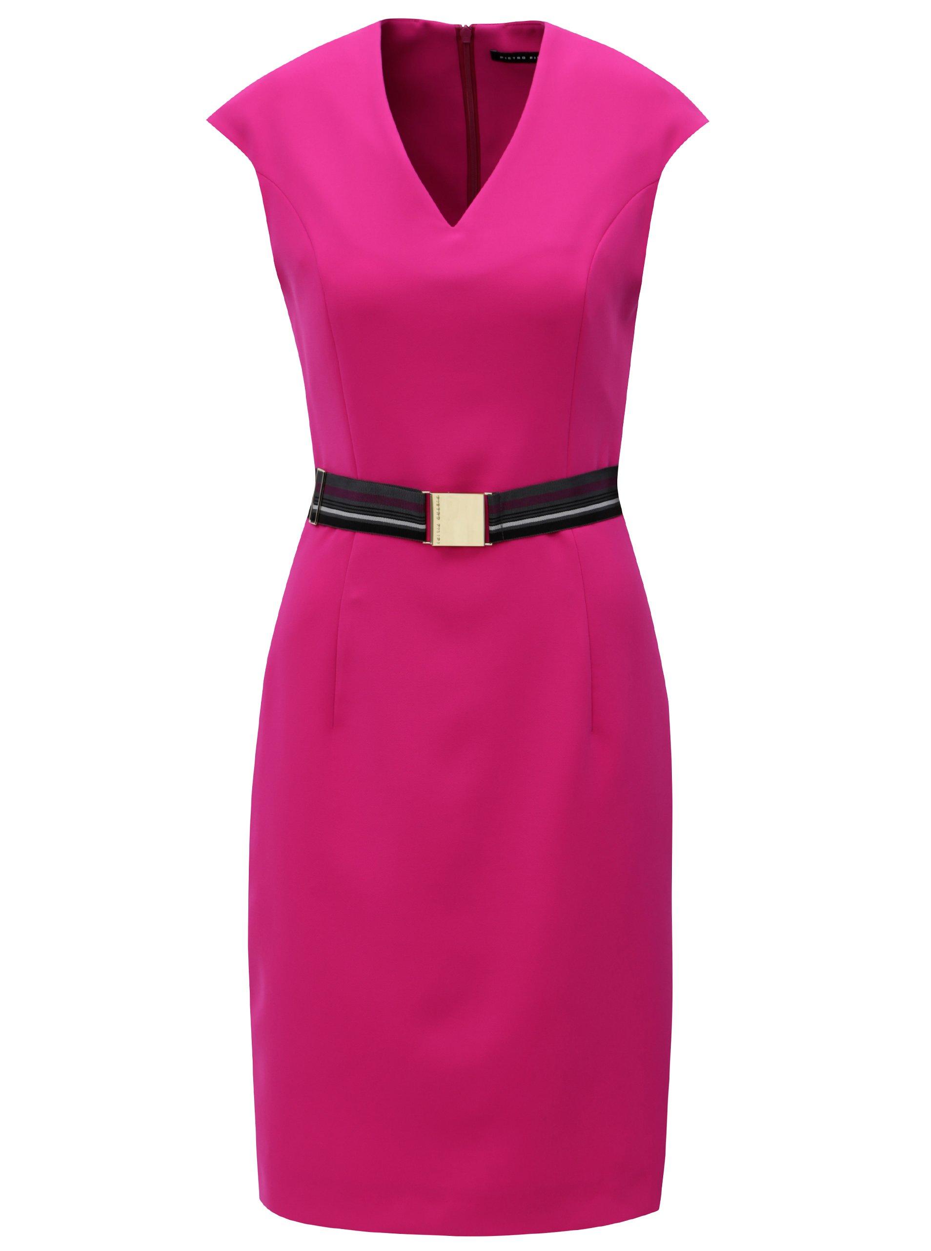 Ružové puzdrové šaty s opaskom Pietro Filipi  fce4ec9ec5c