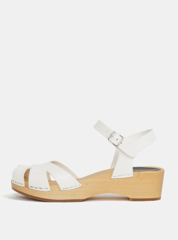 Dreváky na podpätku s bielymi koženými remienkami Swedish Hasbeens Suzanne