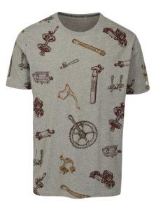 Sivé pánske tričko s krátkym rukávom a potlačou Maloja