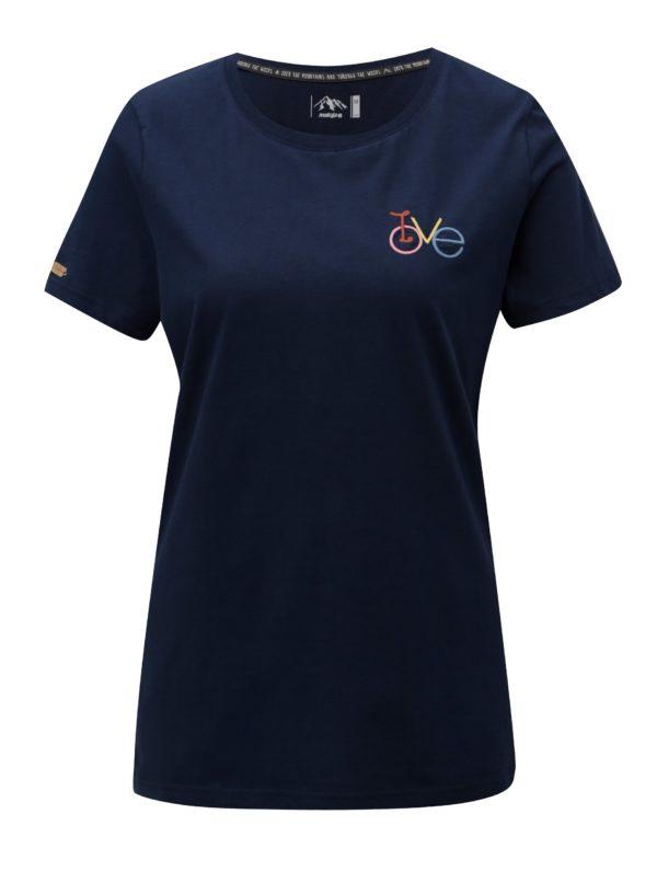 Tmavomodré dámske tričko s výšivkou Maloja